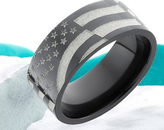 Zirconium Black Band American Flag Ring Promise Ring Anniversary Ring Comfort Fit Mens Womens Wedding Band Comfort Fit FREE Laser Engraving