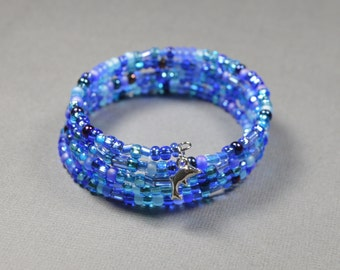 Colors of sea memory wire bracelet
