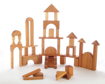 Natural Wooden Block Set - 60 Pieces