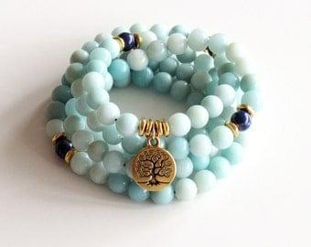 Amazonite Mala Necklace - Tree of Life Wrap Bracelet Yoga Necklace Meditation Necklace Healing Necklace Japa Mala Spiritual Necklace