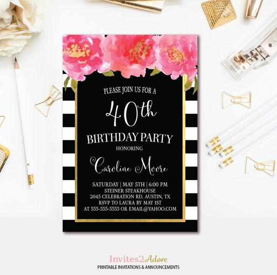 Black White Stripe Birthday Invitation Black Pink And - Black and white striped birthday invitations