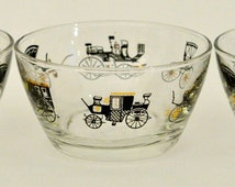 Mid Century Modern Horseless Carriage Snack Bowls Antique Auto Glassware by Libbey