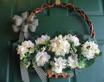 Geranium Wreath, Geranium Door Basket