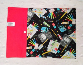 Teacher school placemats Lunch bag placemats roll up placemats snack mats cutlery pocket
