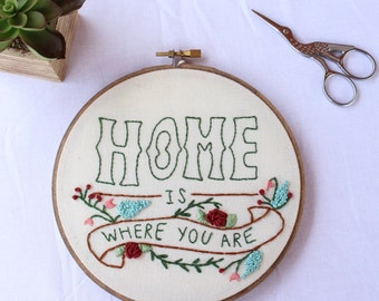 Home Hoop Art. Embroidery Hoop Art. Needlepoint. Hand Embroidery. Home Decor. Host Gift. Wall Art. Fabric Art. Wall Hanging. Stitched Art.