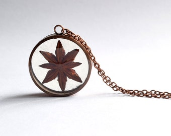 Star Anise Necklace / Pendant / Keyring - handmade copper jewellery