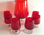 Red Glass Pitcher 6 Clear Stem Glasses Mid Century Juice Barware Vintage Cocktail