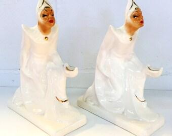 Ceramic Aladdin Genie Statues Pair of Figurines Kipp Ceramics Pasadena California Pottery Mid Century Decor Hollywood Regency Arabian Nights