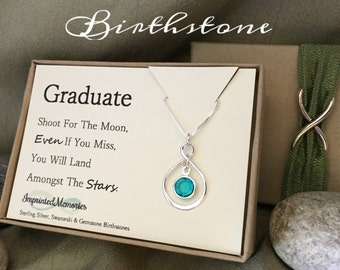 Graduate Gift for Her Graduation - Sterling Silver Birthstone Necklace - High School Graduation Gift Class of 2016 Graduation Gift for girl