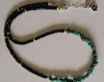 Nevada Turquoise Nuggets and Faceted Black Spinel Necklace with Faceted Sterling Silver Beads