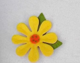 Felt pin brooch flower yellow felt needle felted wool pin flower brooch handmade brooch flower pin eco friendly brooch felt wool flower