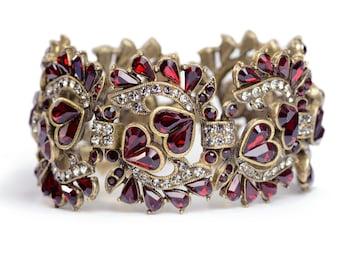 Heart Bracelet, Garnet Bracelet, Garnet Crystal, Anniversary Bracelet, Gift for Her, Ainversary, Love, Red, Valentine Bracelet BR547-GA