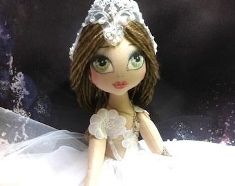 BRIDE doll, ART doll AVERY Cloth doll ooak steampunk wedding  handmade doll victorian romantic, original, vintage fashion. lolita