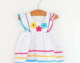 Vintage Baby Pinafore // 6-12 Months Baby Girls Dress & Bonnet Set