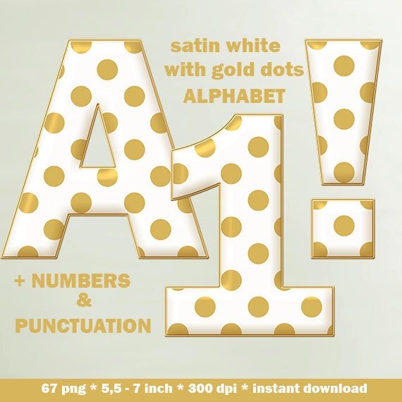 Satin white digital alphabet with gold dots, dotted ...