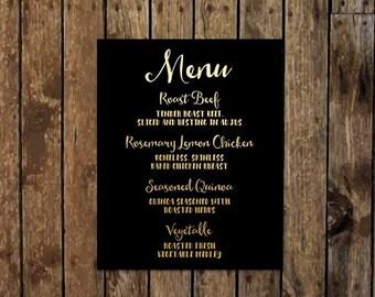 16 x 20 DIY Printable Elegant Chic Reception Dinner Menu with Black Background. Metallic Gold