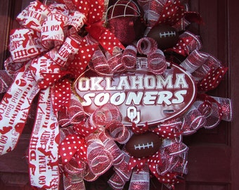 Oklahoma Sooners Wreath, custom wreath, deco mesh wreath, wreath
