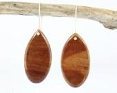 Wooden Earrings - Australian Salmon Gum Wood Sterling Silver Drop Earrings - Hand Made