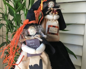 SALE - Primitive Witches - Two Witches - Whimsical Halloween Decoration - County Halloween Decoration - Handmade Halloween Decoration -