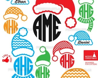 Santa Claus Hats SVG Monogram Files - Christmas Cut Files for Vinyl Cutting Machines, Cricut, Silhouette, Graphtec - Dxf, Eps, Png, Studio3