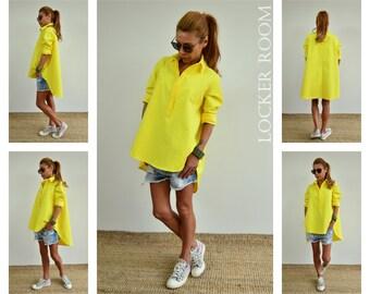 Maxi shirt / Loose top / Yellow oversize top /Maxi yellow top /Extravagant Asymmetric shirt