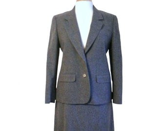 Vintage Pendleton Skirt Suit Women's 1980s Charcoal Gray Two Button Blazer Jacket and Skirt with Pockets - Size 10 - Pendleton Petite