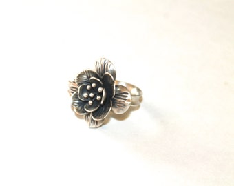 3D Flower Ring, Sterling Silver Flower Ring