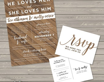 Rustic Wood Wedding Invitation PRINTABLE