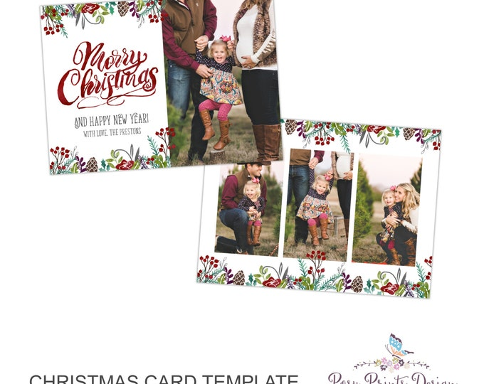 Christmas Card Photoshop Template - 5x7 Photo Card - INSTANT DOWNLOAD or Printable - CC45