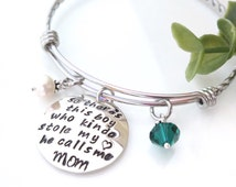 So There's This Boy Who Stole My Heart, He Calls Me Mom - Adjustable Bangle Bracelet for Mom from Son - Expandable Bracelet - FREE SHIP