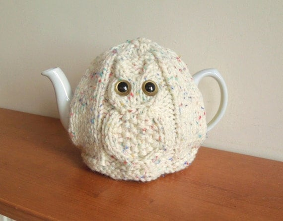 Small Dog Knitting Patterns : Owl Knitted Tea Cosy For Your Teapot Fits 2 pint 4-6 cup