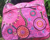 Bright Colourful Handbag Flower Spiral Design Hippy Boho Festival Blue Pink Purple