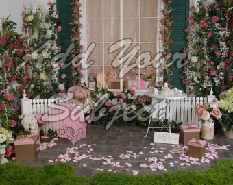 Digital Photo Backdrop Spring Tea Party Background