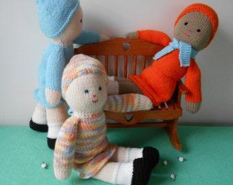 Easy Knitted Dolls-PDF Knitting Pattern-2 Needle Method-New Knitter-Beginner-Photos-INSTANT Download