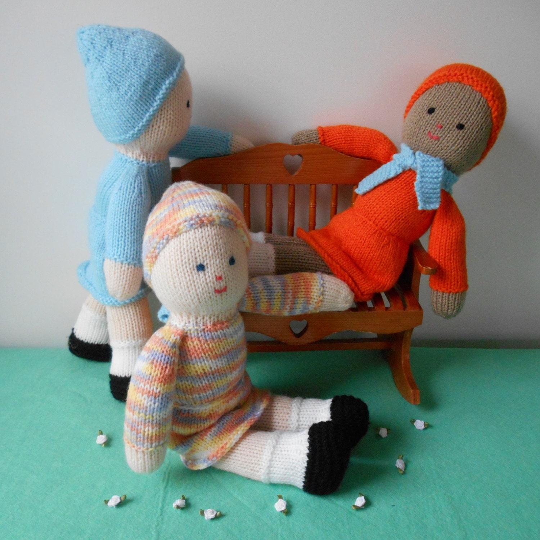 Knit Doll Pattern Easy : Easy Knitted Dolls-PDF Knitting Pattern-2 Needle Method-New