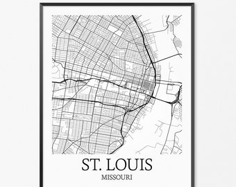 St. Louis Map Art Print, St. Louis Poster Map of St. Louis Decor, St. Louis City Map Art, St. Louis Gift, St. Louis Missouri Art Poster