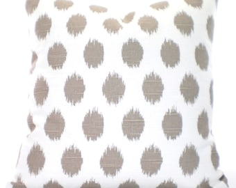 Taupe Ecru Tan Decorative Throw Pillow Covers, Cushions, Ikat Dots JoJo Tan White Couch Pillows, Throw Pillow One or More All Sizes