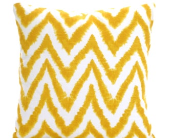 Yellow Chevron Pillow Covers, Decorative Throw Pillows, Cushions, Corn Yellow White Diva Couch Bed Pillows Euro Sham, One or More All Sizes