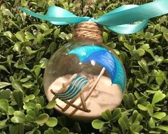 Personalized Beach Chair Ornament - Sand and Seashell Ornament
