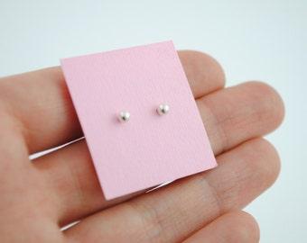 Silver earrings ball, tiny silver earrings, small silver ball earrings, minimal earrings
