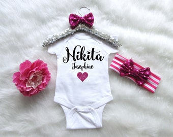 Baby Girls Bodysuit. Personalized Baby Girl Outfit. Baby Girl Creeper. Baby Girl Name Shirt. Baby Girl Newborn Set. Baby Shower Gift Set.