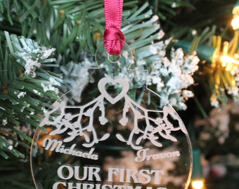 Our 1st Christmas Together Mistletoe and Heart Tree Decoration & Gift Bag