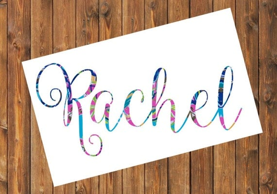 Free Shipping- Personalized Decal, Lilly Pulitzer Floral, Sticker,Yeti Decal, Car Decal, Tumbler Decal, First Name, Last Name, Engagement