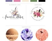 Premade Branding Kit - Watercolor Feathers Arrows Floral Frame Marketing Kit - Calligraphy Logo - Initials Logo Photograhy Logo Watermark
