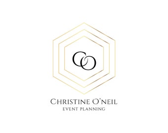 Premade Logo Design - Geometric Gold Logo - Initials Logo - Photograhy Logo Watermark - Business Logo Gold Custom logo Event Planning Logo