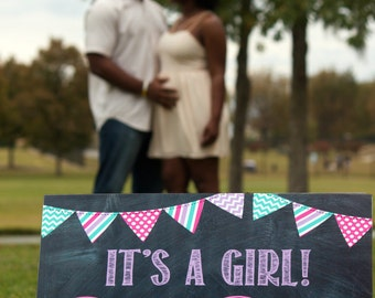 It's A Girl! Printable Chalkboard Gender Reveal / Pregnancy Announcement / DIGITAL JPEG FILE / Photo Prop / Social Media File / Facebook