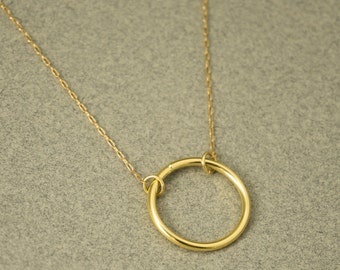 Delicate Gold Necklace, Karma Necklace, Gold Minimal Necklace, Circle Necklace, Rose Gold Dainty Necklace, Simple Circle Necklace