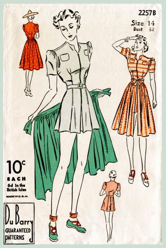 1940er Jahre 40er Jahre Vintage Badeanzug Schnittmuster Damen