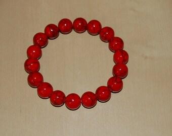 Red Coral Bracelet,Gemstone Bracele 10mm Round Beads,Elastic Bracelet Fit All, Gemstone Stretch Bracelet, Men,Women, Beaded Jewelry