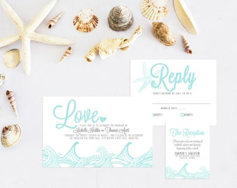 Beach wedding invitation, Printable wedding invitation, Beach theme wedding stationery.